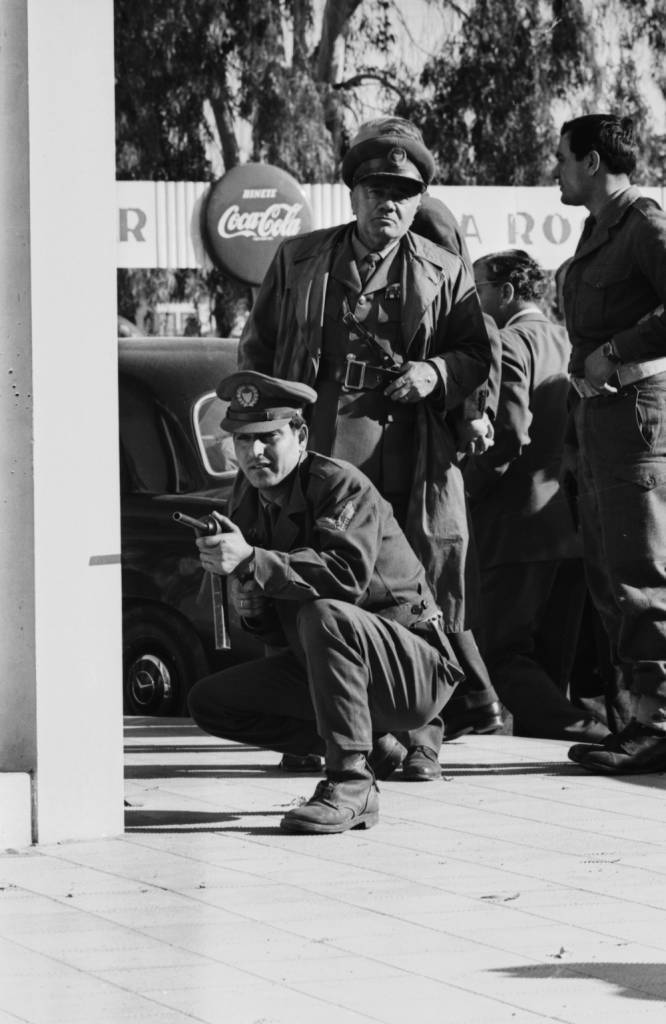 Greek troops on guard during the Cyprus riots, Nicosia, Cyprus, December 26th 1963. (Photo by Stan Meagher/Express/Getty Images)