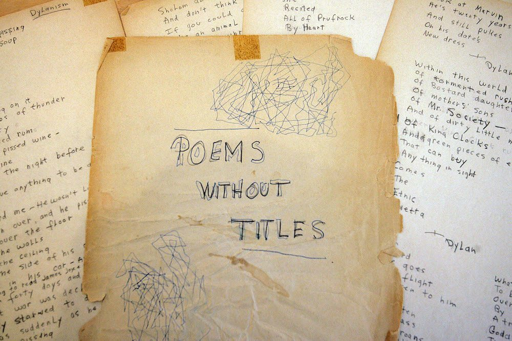 NEW YORK - NOVEMBER 21: A rare early collection of poems written by Bob Dylan in 1960 lies on display at Christie's Auction House, November 21, 2005 in New York City. The collection is expected to bring approximately $60,000 to $80,000 at today's auction. (Photo by Stephen Chernin/Getty Images)