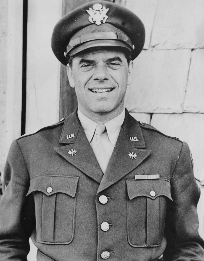 Film director Frank Capra in military uniform during his service in World War Two, February 1945. (Photo by Keystone/Hulton Archive/Getty Images)