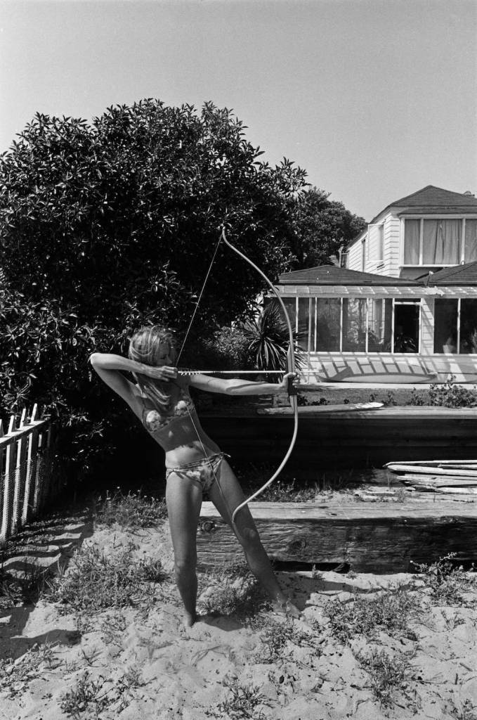 Jane Fonda (with bow & arrow), Malibu, 1965