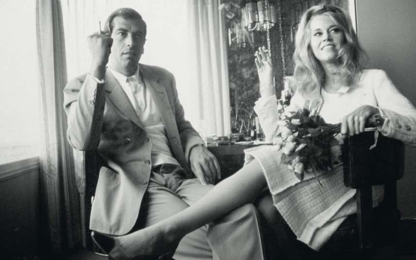 Jane Fonda and Roger Vadim at their wedding in Las Vegas, 1964