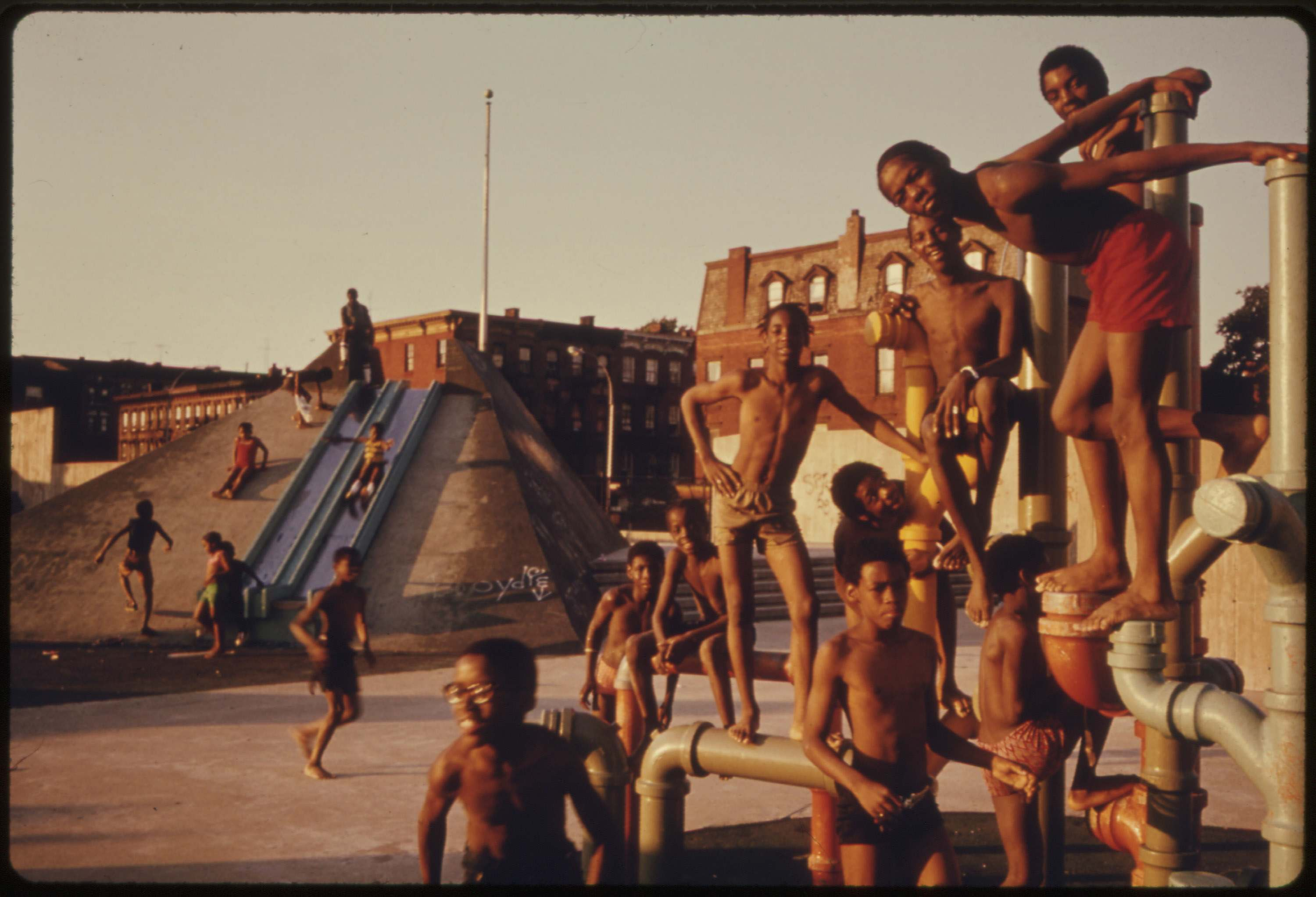 July 4th Holiday at the Kosciusko Swimming Pool in Brooklyn's Bedford-Stuyvesant District, July 1974. Documerica: Danny Lyon's Photos of New York City in the Summer of 1974