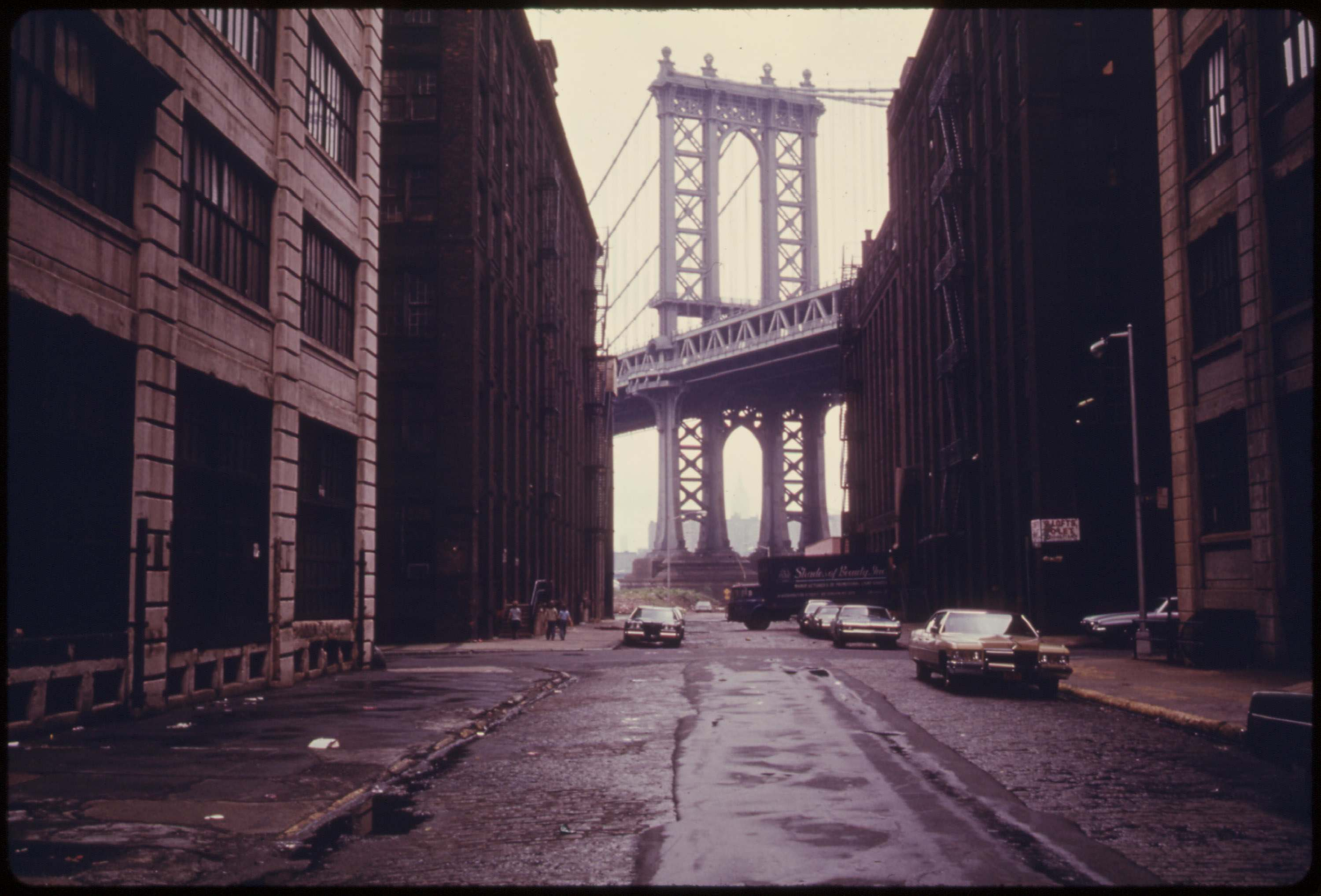 Manhattan Bridge tower in Brooklyn, June 1974.