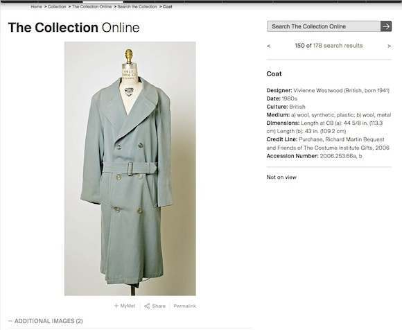 "Blue gabardine raincoat as sold in Sex in 1976 misdated to ""1980s"" and misattributed solely to Westwood/McLaren credit absent"