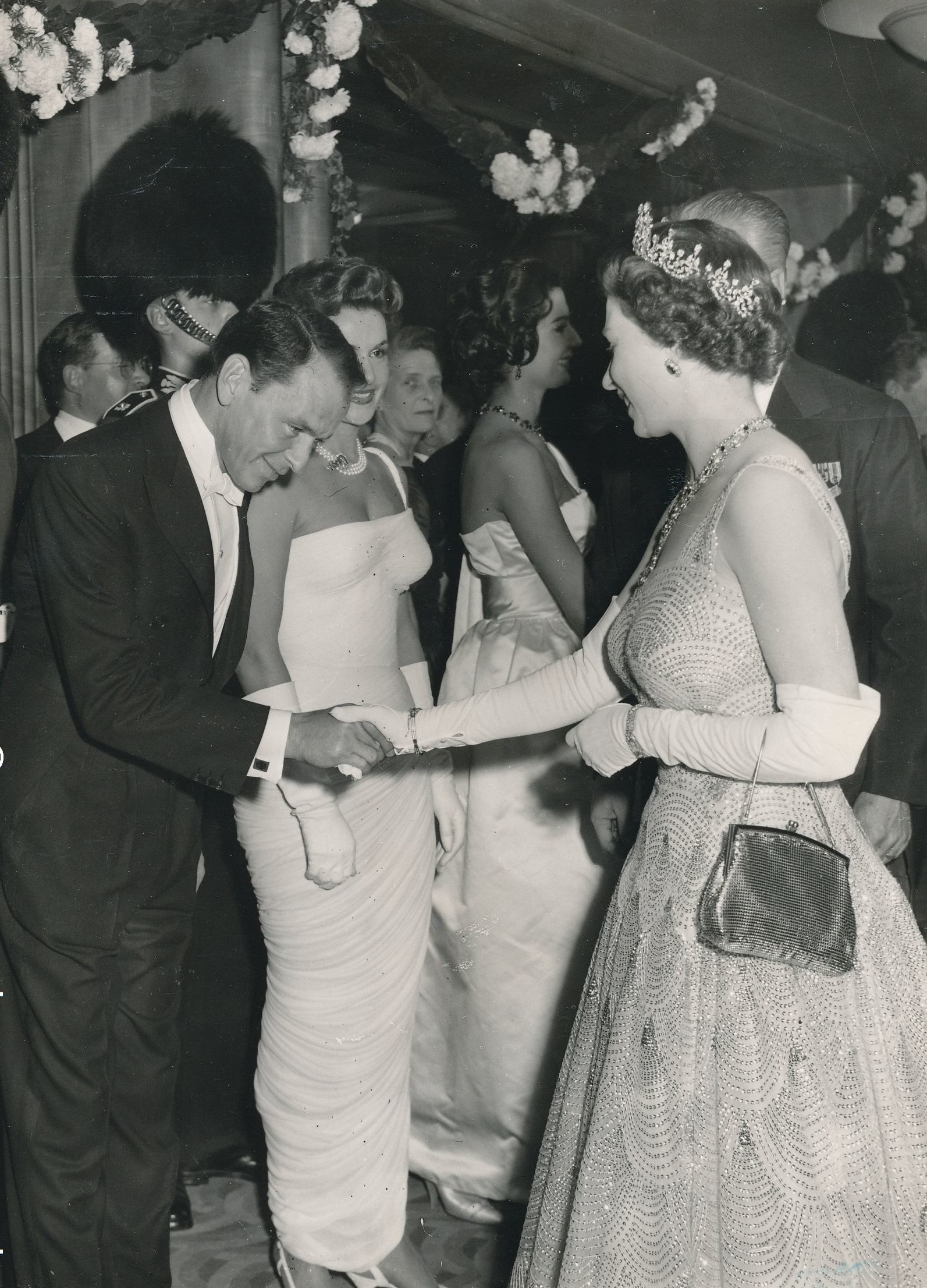 "October 27 1958 Queen Elizabeth with Frank Sinatra, after premiere of ""Me and the Colonel""."