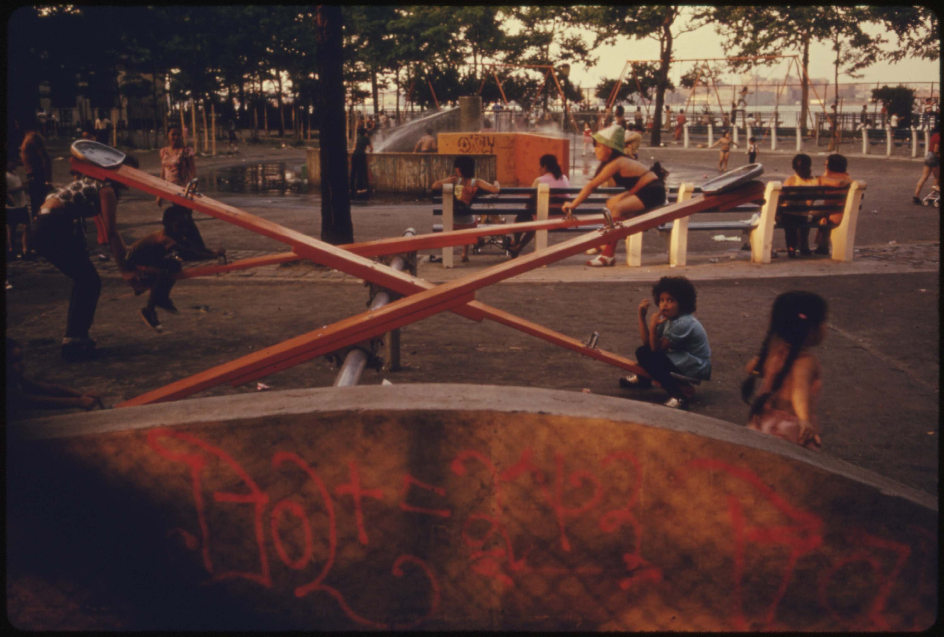 Playground in East River Park in Manhattan, July 1974.