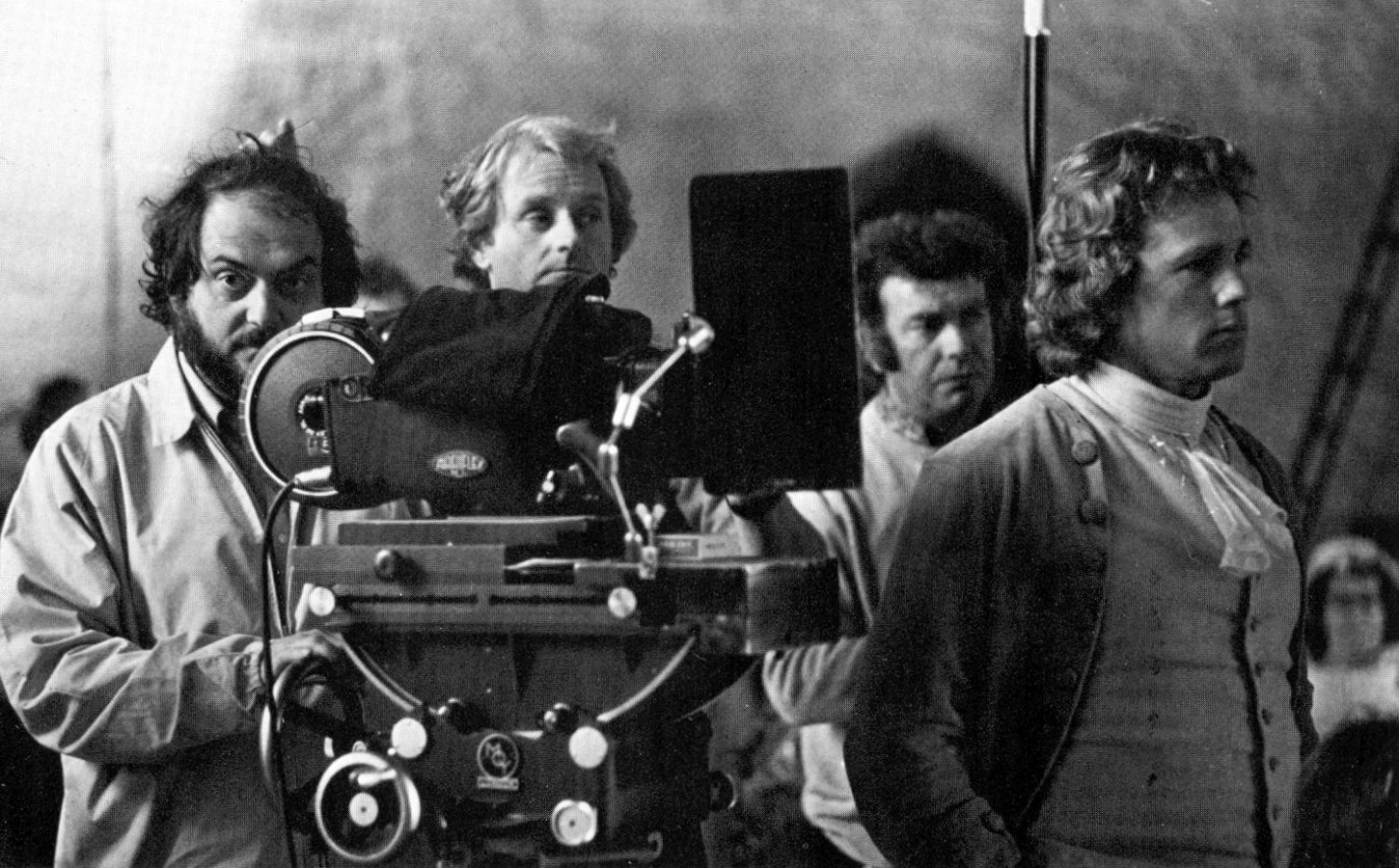 Stanley Kubrick and Ryan O'Neal on the set of Barry Lyndon, 1974