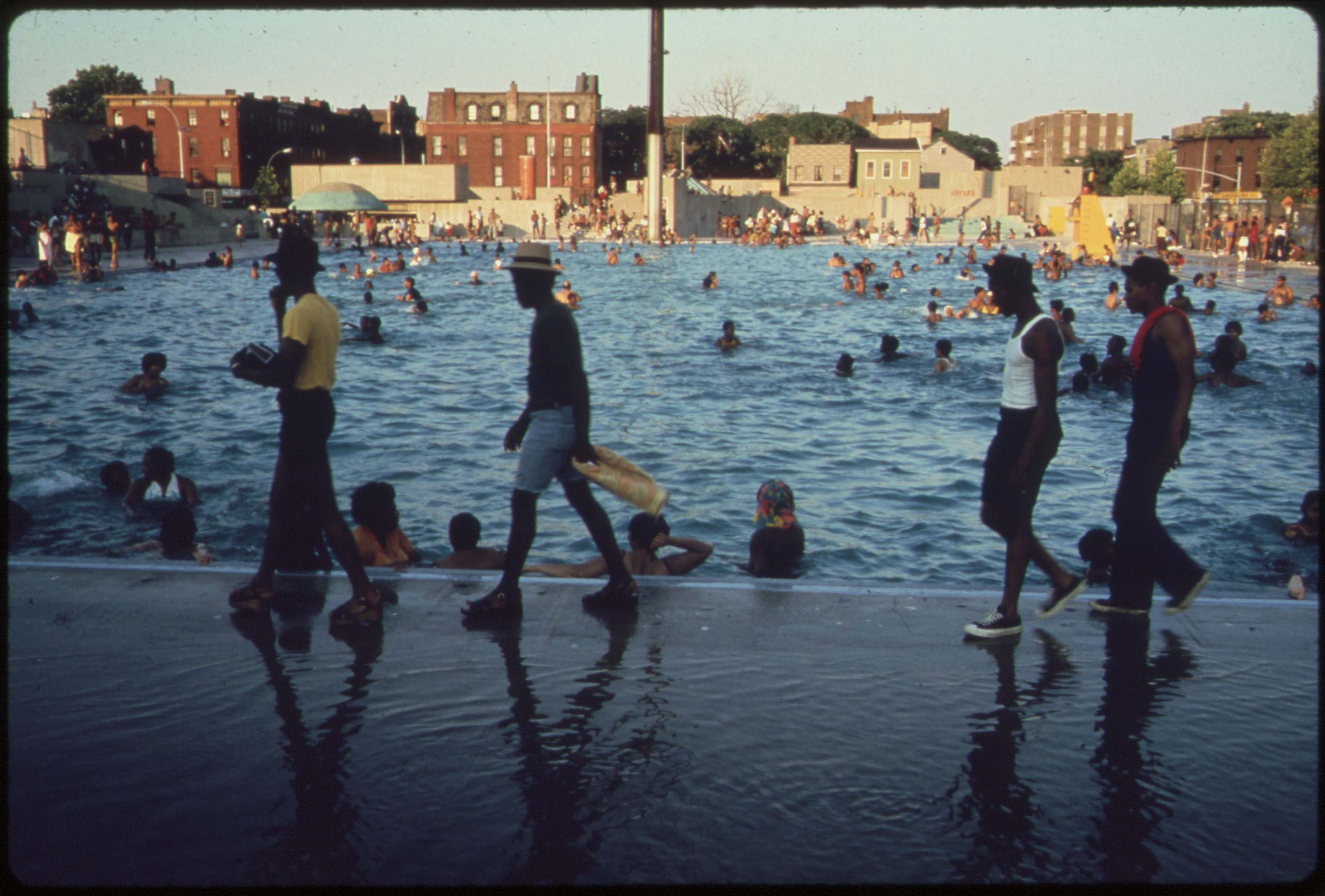 The Kosciusko public swimming pool, Bedford-Stuyvesant district of Brooklyn, July 1974.