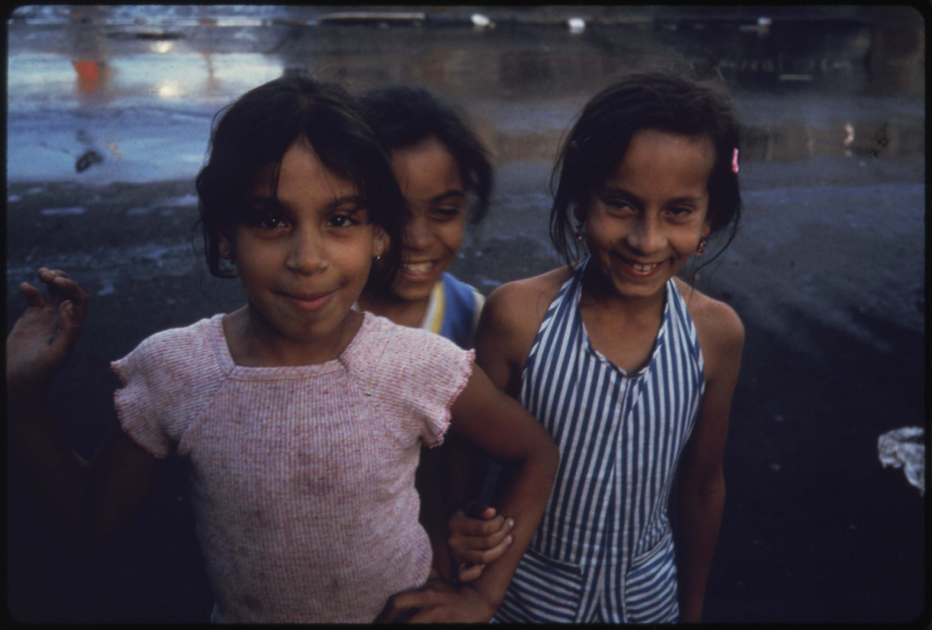 Three young girls in Brooklyn, July 1974.