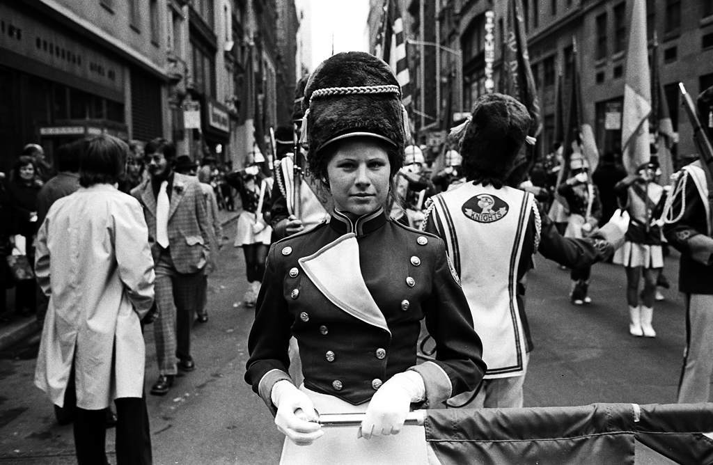 Tony Marciante close up woman in parade 1974