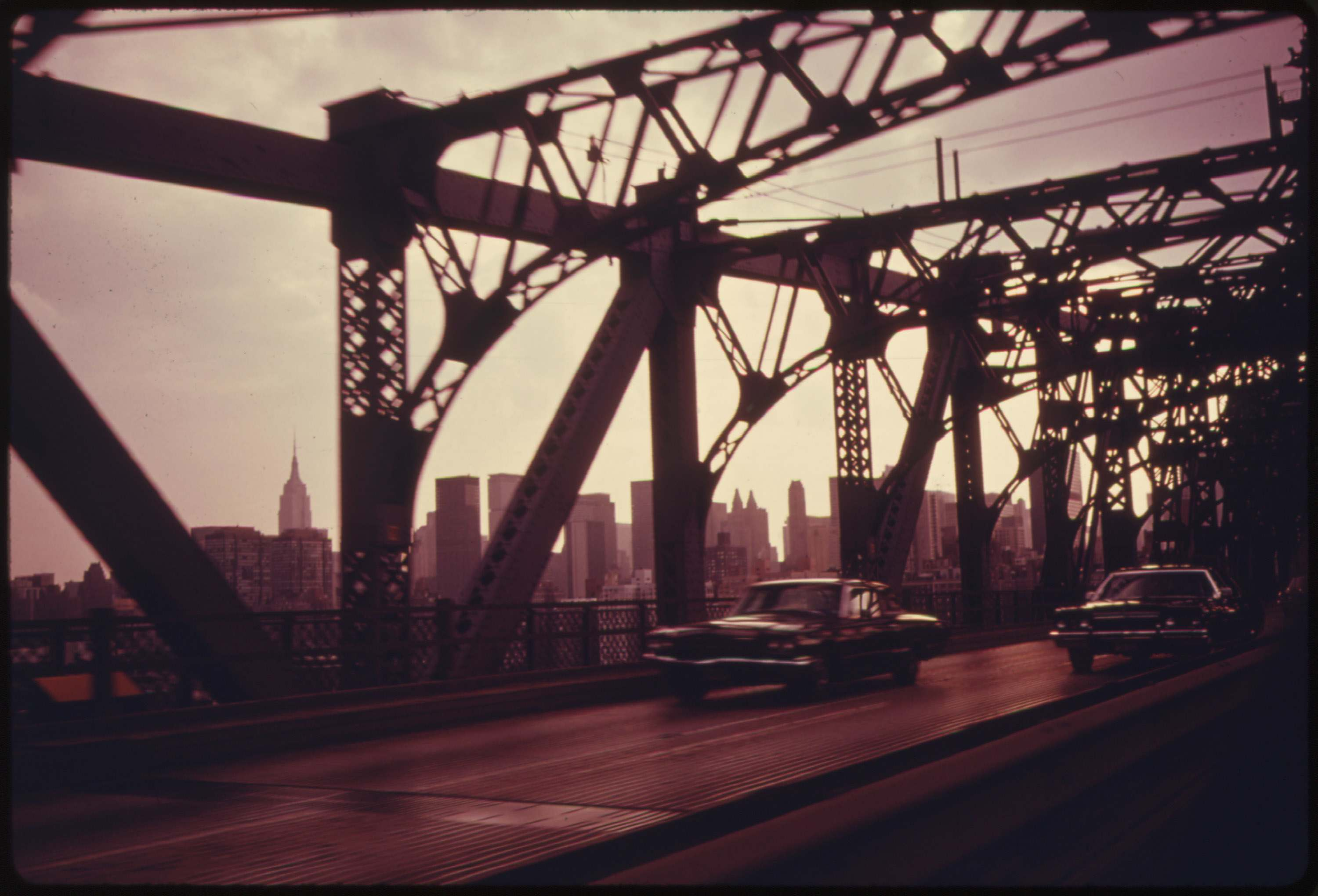 Williamsburg Bridge facing towards Manhattan, July 1974.