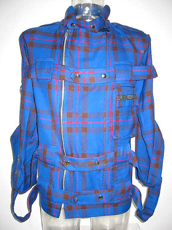 De-accessioned: Jacket from blue tartan bondage suit which has been permanently deleted from the Met's collection