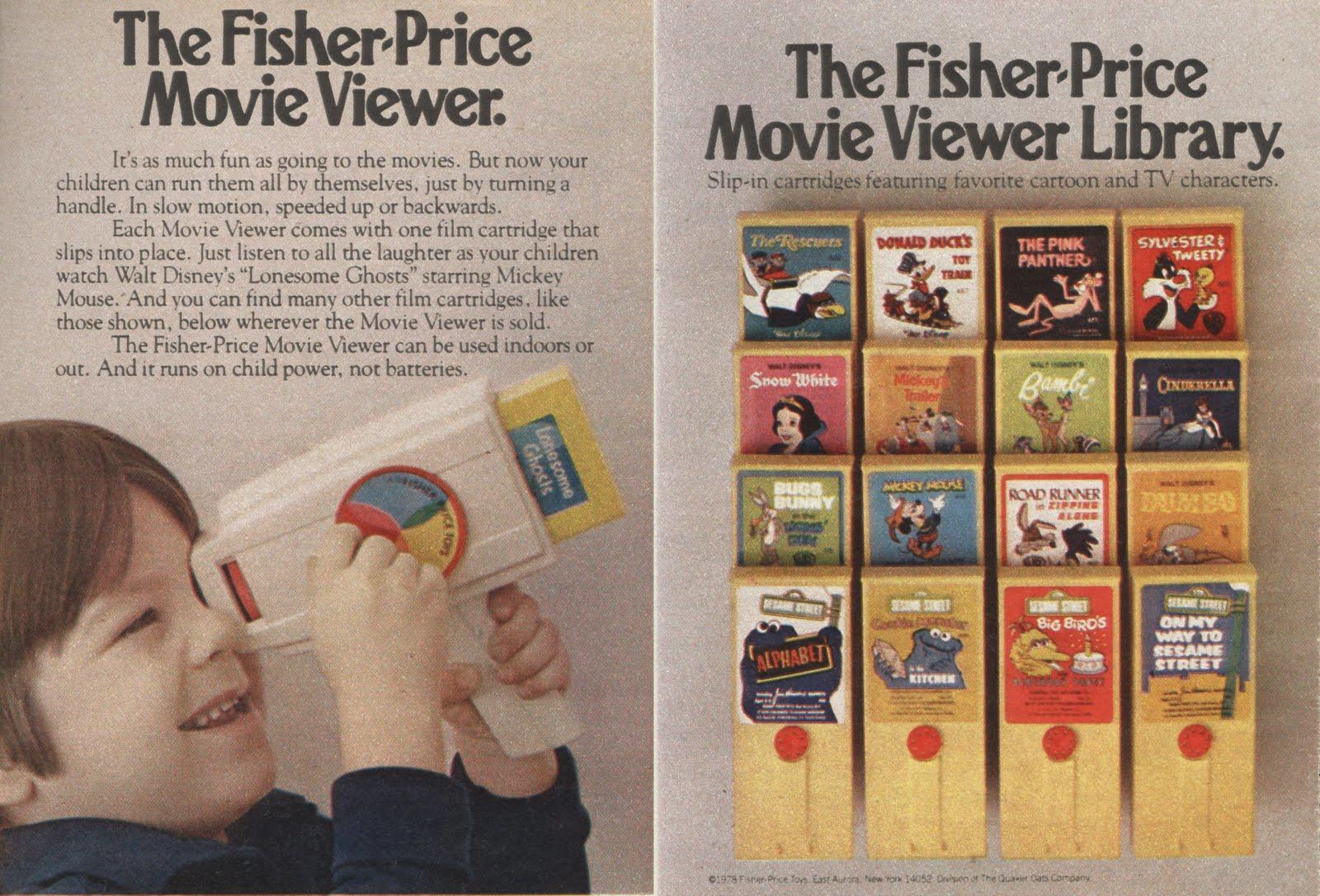 1978 Fisher-Price Movie Viewer and Cartridges 2 1/4 page advertisements.