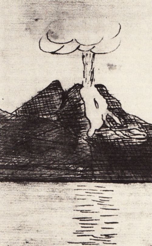 Hans Christian Andersen's diary drawing of the Vesuvius eruption, 1834