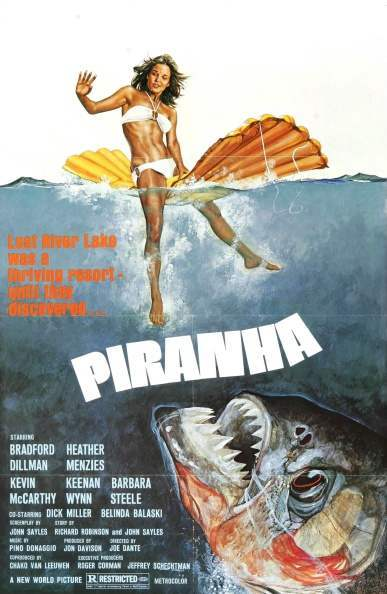 Piranha is a 1978 American B movie about a swarm of killer piranhas. It was directed by Joe Dante and starred Bradford Dillman, Heather Menzies. The film is a parody of the 1975 film Jaws and inspired a whole range of movies with a similar theme. (Photo by: Universal History Archive/UIG via Getty images)