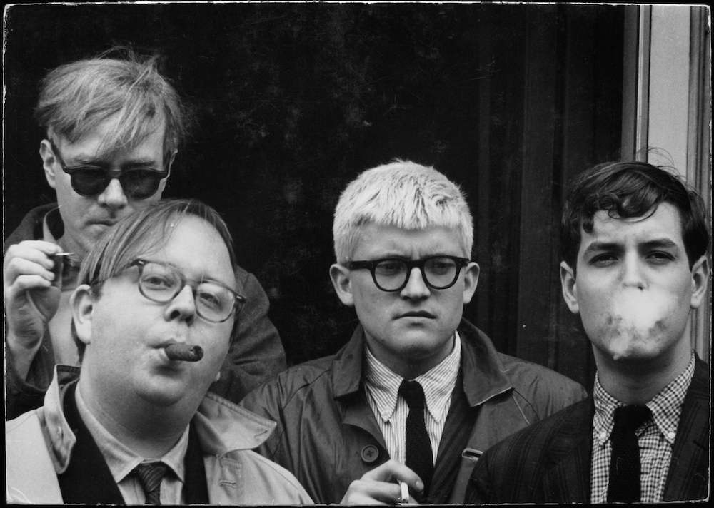 Andy Warhol, Henry Geldzahler, David Hockney, and Jeff Goodman, 1963 Location: USA 6.79 x 9.74 inch