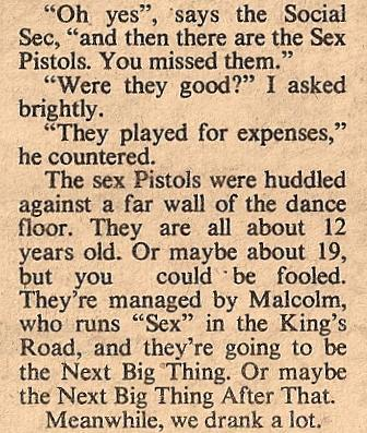 /From a review of the Queen Elizabeth College All Night Christmas Ball by Kate Phillips, New Musical Express, December 27, 1975