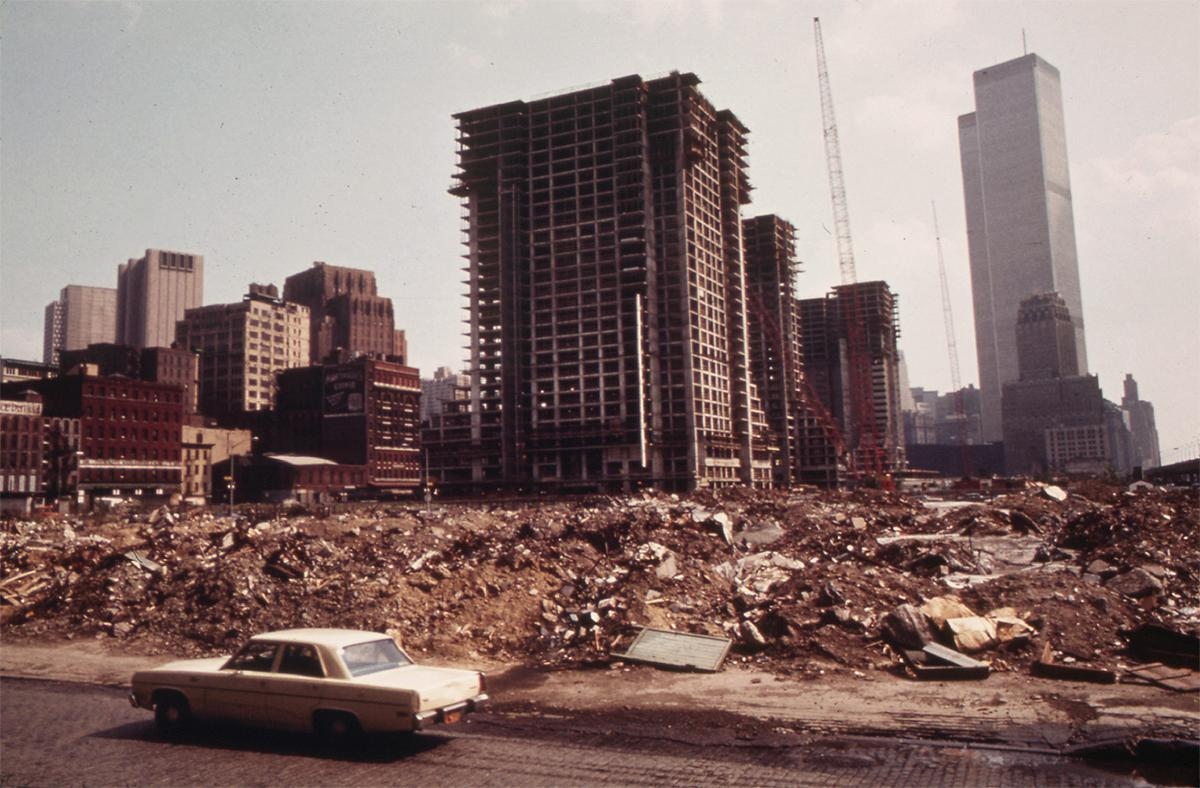 Construction on Lower Manhattan's West Side, just north of the World Trade Center, May 1973