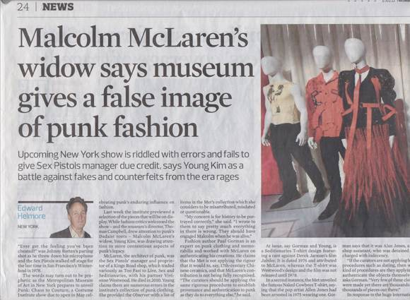 In February 2013 Young Kim of the Malcolm McLaren Estate sounded the alarm about the presence of fakes in the Met collection