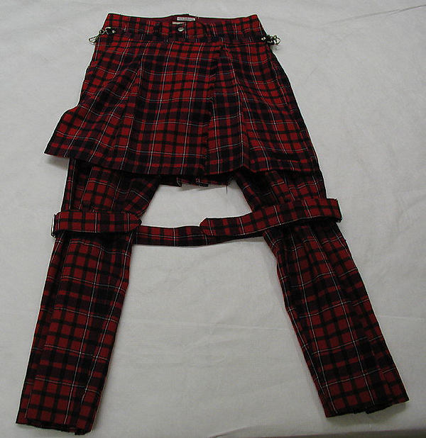 Authentic: The tartan bondage trousers and kilting attachments donated to the Met in 1986