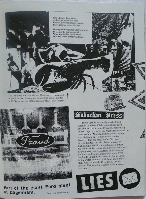 Suburban Press imagery 1970-1975 in Up They Rise, Jamie Reid 1987.