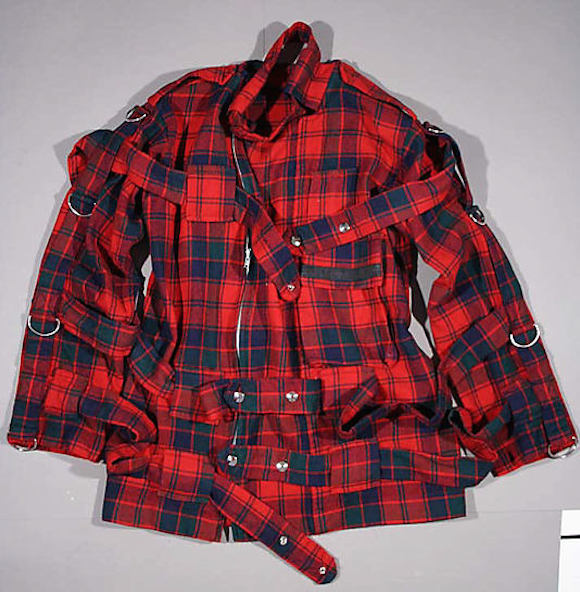 De-accessioned: Jacket from red tartan bondage suit which has been permanently deleted from the Met's collection
