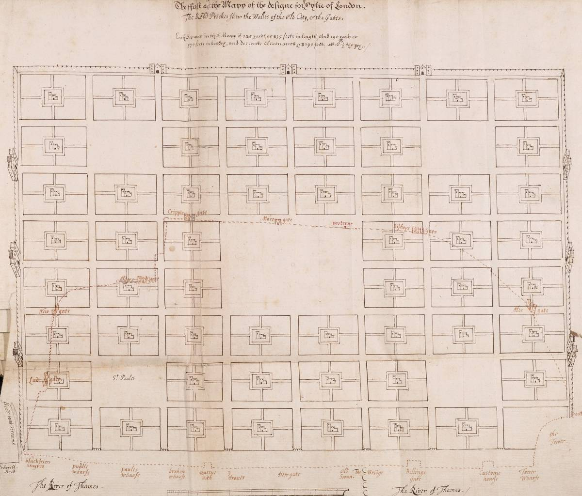 'Eerily repetitive'- Richard Newcourt's plan. Illustration- London Metropolitan Archives