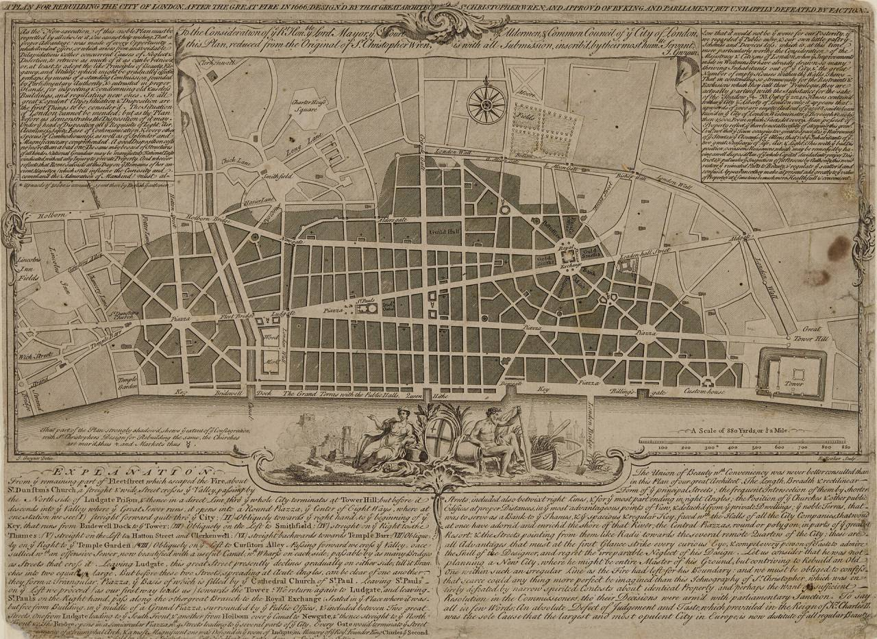'Wide boulevards and grand civic spaces'- Christopher Wren's plan to rebuild London. Illustration- RIBA