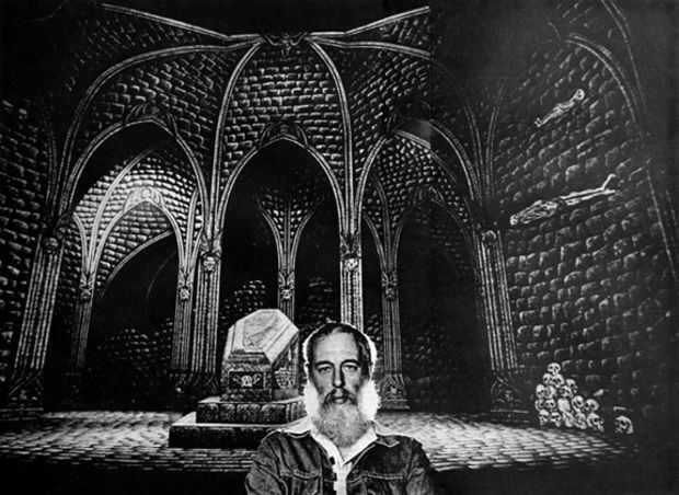 Edward Gorey and his set for Dracula. Via