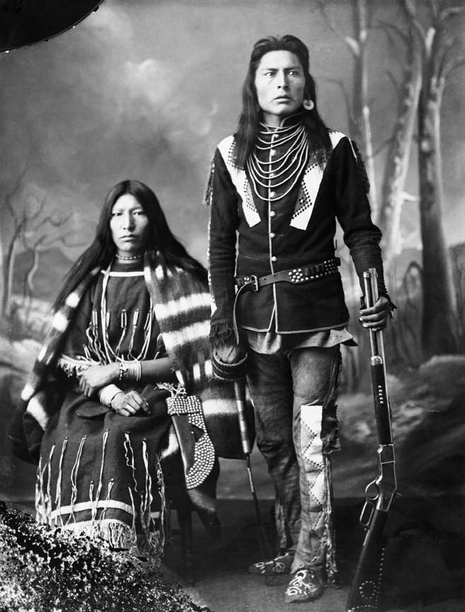 First Nations man and his wife. Date: 1886