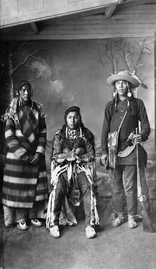 Three young Blackfoot men. Date: [ca. 1887]