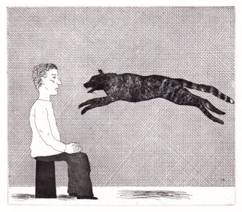 'A black cat leaping' (The Boy Who Left Home to Learn Fear)