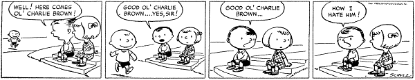The first strip from October 2, 1950. From left to right: Charlie Brown, Shermy, and original Patty.