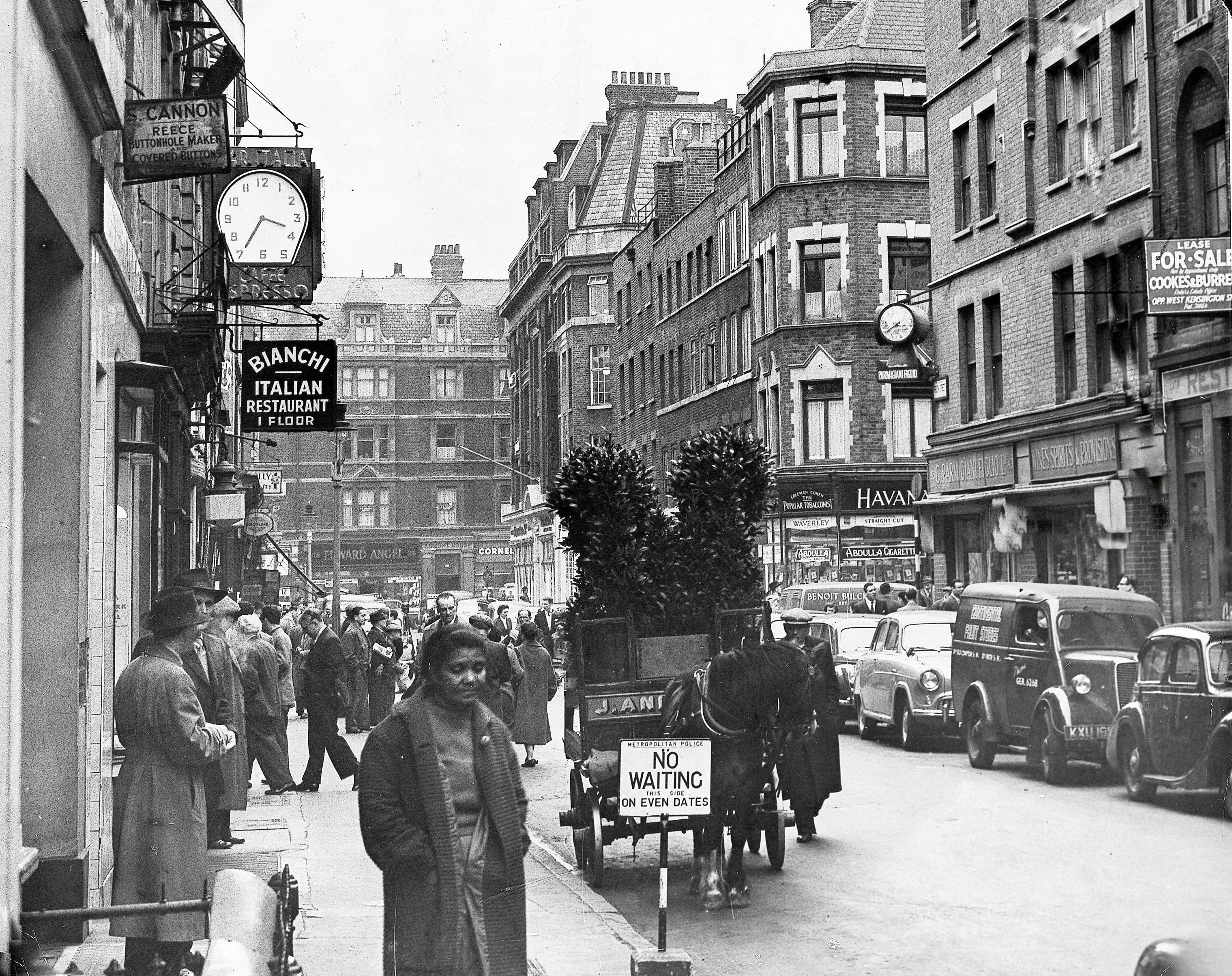 Frith Street in Soho, April 1955. Photo by ANL/REX/Shutterstock