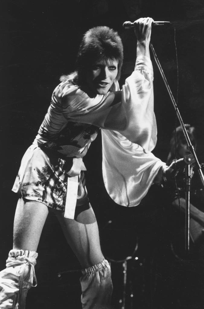 David Bowie performs his final concert as Ziggy Stardust at the Hammersmith Odeon, London. The concert later became known as the Retirement Gig. (Photo by Steve Wood/Getty Images)