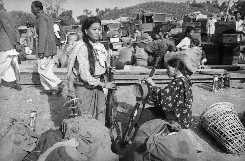 25th November 1962: Some of the wives and families of soldiers of the Assam Rifles at Tezpau in India, during border clashes with China. (Photo by Terry Fincher/Express/Getty Images)