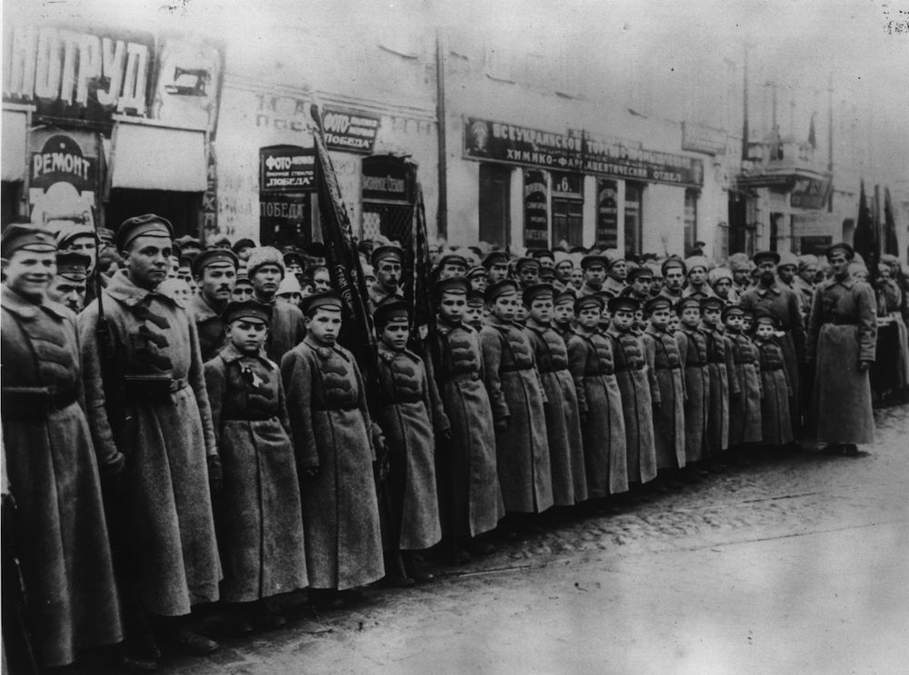 1st December 1923: A group of child soldiers in Russia known as 'Young Spartakus'. (Photo by Topical Press Agency/Getty Images)