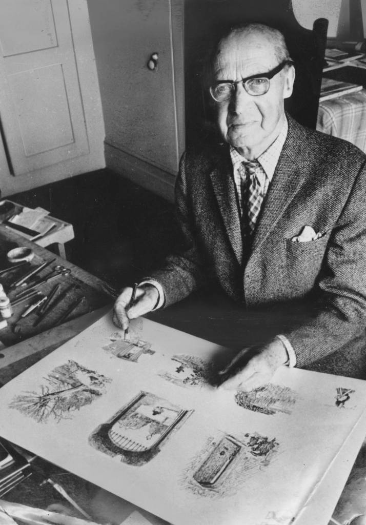 26th March 1976: English artist Ernest Howard Shepard (1879 - 1976), who illustrated the Winnie the Pooh series of children's books under the name of E H Shepard. (Photo by Evening Standard/Getty Images)