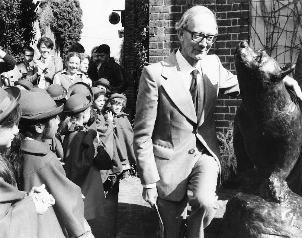 Author Christopher Robin Milne unveiling a statue of a bear, in honor of his father A A Milne and his creation Winnie the Pooh, at London Zoo, September 1981. (Photo by Keystone/Hulton Archive/Getty Images)