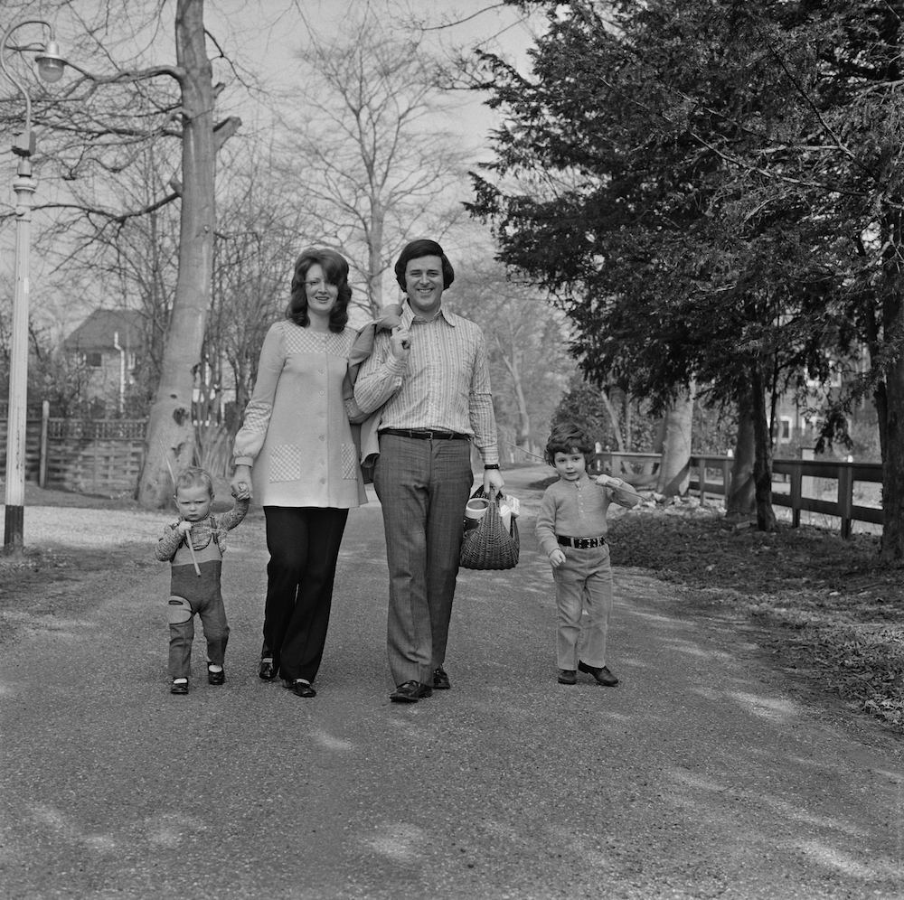 Terry Wogan takes a walk beside the River Thames with his wife, Helen Joyce, and their children Alan and Mark, 17th March 1972. (Photo by Dove/Daily Express/Hulton Archive/Getty Images)
