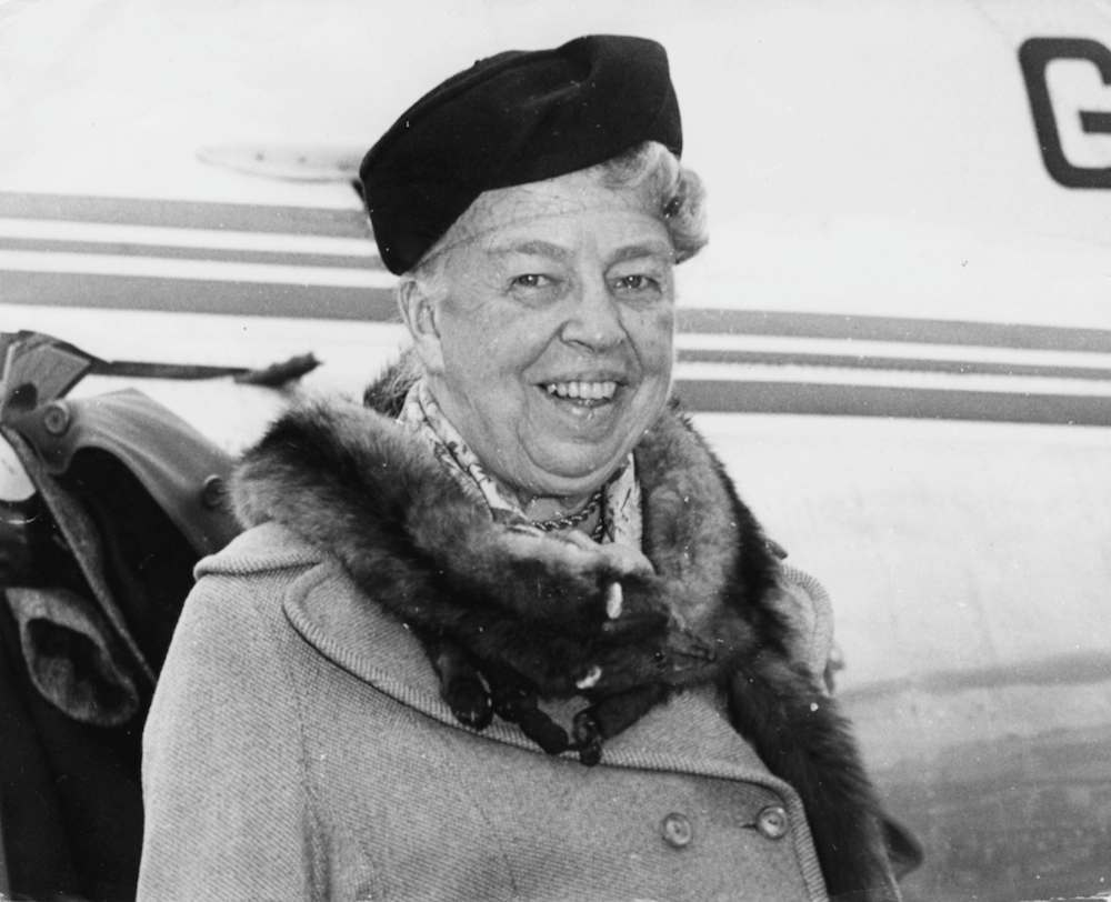 Eleanor Roosevelt, wife of President Franklin D Roosevelt, arriving at London Airport, April 3rd 1959. (Photo by J. Wilds/Keystone/Getty Images)