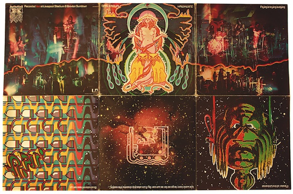 Outer trifold sleeve, The Space Ritual: Alive In London & Liverpool, Hawkwind, UA, 1973. Design: © Barney Bubbles Estate