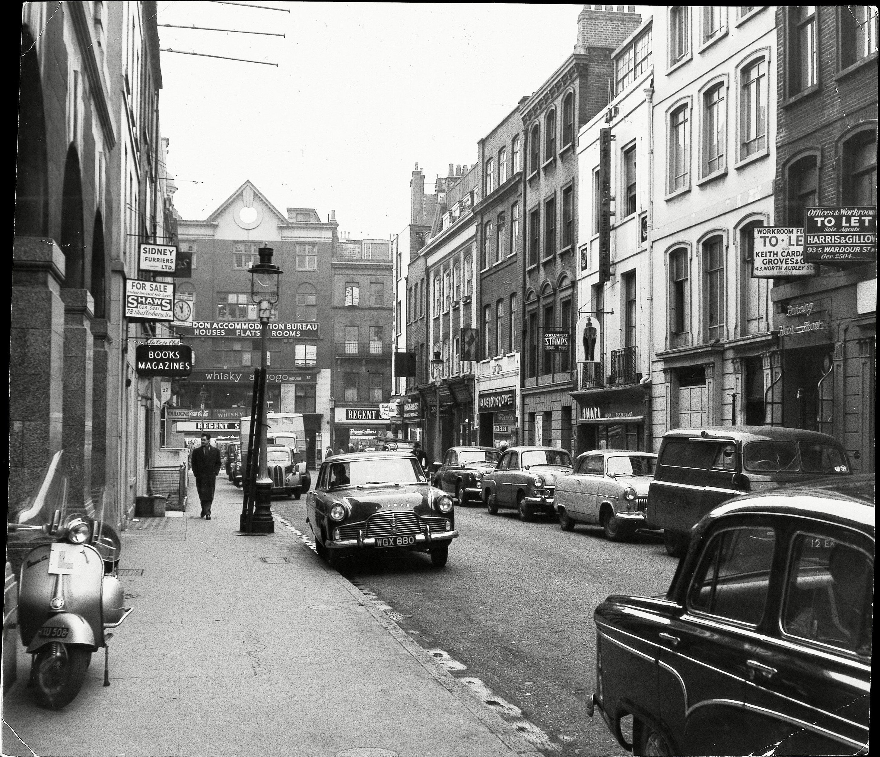Metered Parking introduced in Gerrard Street. 3rd December 1959. Photo by Evening News/REX/Shutterstock