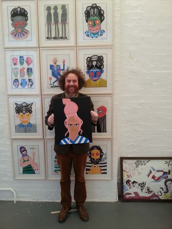 Robert Rubbish with one of his works at this week's installation of Space Is Deep at Daniel Blau London