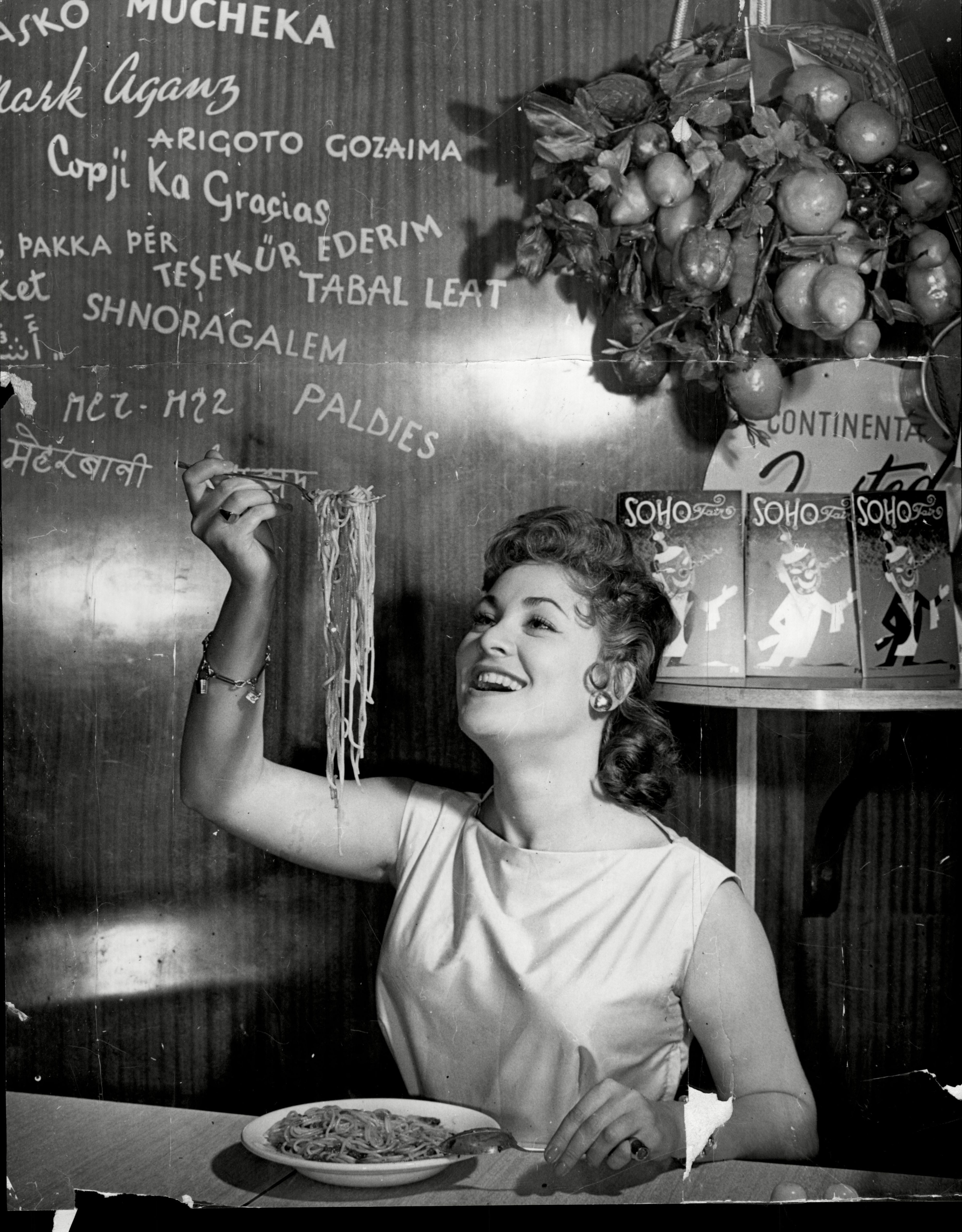 Soho's Fair Queen Andria Loran (real Name Maureen Smith) Tries Her Skill At Spaghetti Eating - A Contest Of The Art Will Be Held In Soho London. Soho's Fair Queen. July 1956. Photo by ANL/REX/Shutterstock