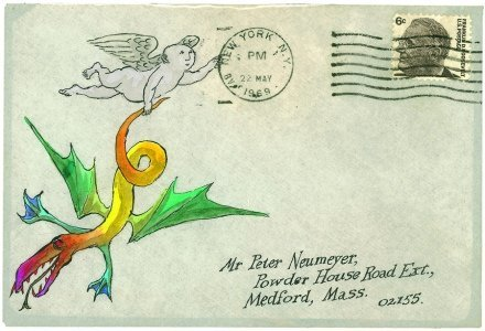 """""""I wrote to Edward Gorey that Helen had found his envelope illustration of the blue infant sad,"""" Neumeyer says of his wife's reaction to the previous image. """"We soon received another, wherein the baby triumphs."""""""