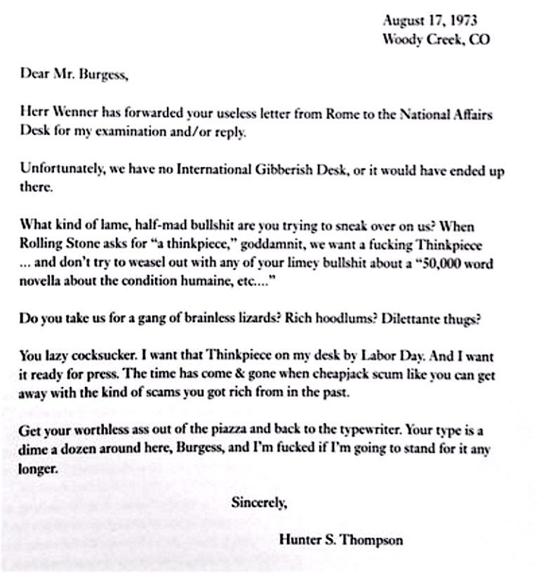 Hunter S Thompson's amazing letter to Anthony Burgess.