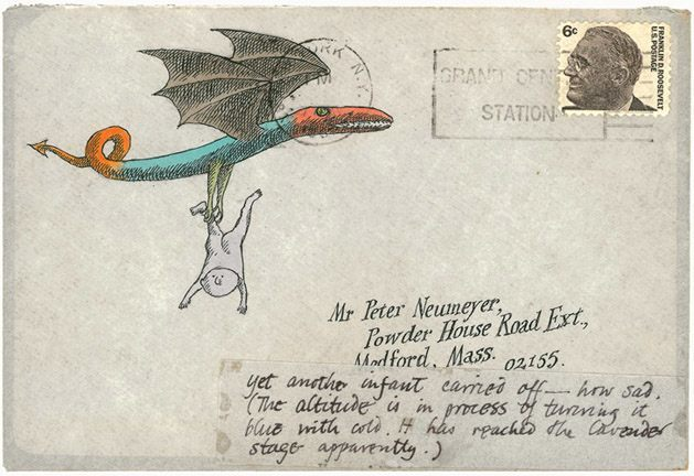 """Yet another infant carried off—how sad,"" Gorey wrote of the scene on this envelope. ""The altitude is in process of turning it blue with cold. It has reached the lavender stage apparently."""