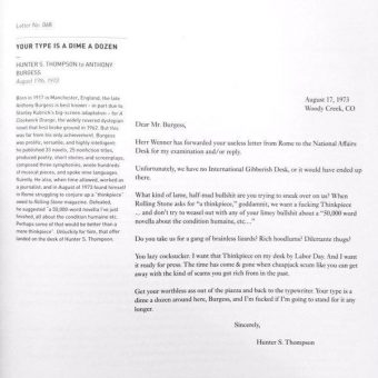 Hunter S Thompson's Amazing Letter to Anthony Burgess (1973)