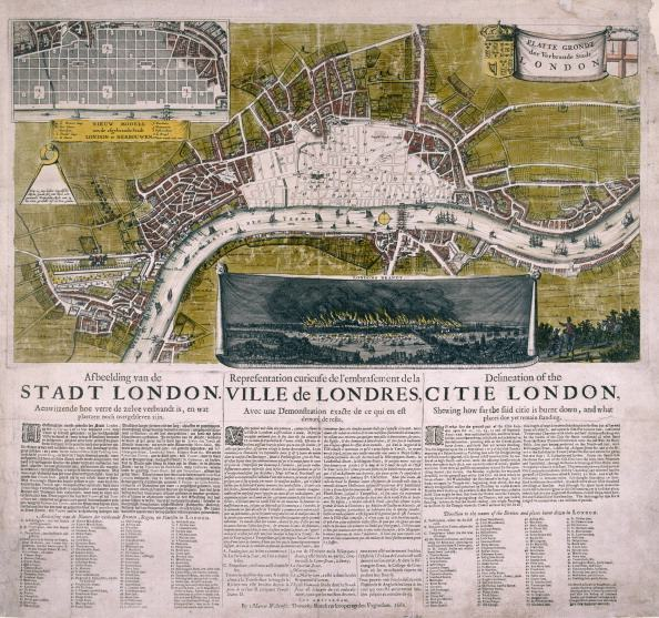 Map of London, 1666; with the title on a banner flanked by the City of London and royal arms, a numbered key in Dutch and a view of the Great Fire of London. Below is a description in Dutch, French and English. (Photo by Guildhall Library & Art Gallery/Heritage Images/Getty Images)